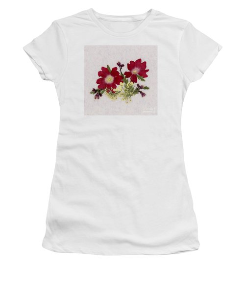 Red Verbena Pressed Flower Arrangement Women's T-Shirt (Athletic Fit)