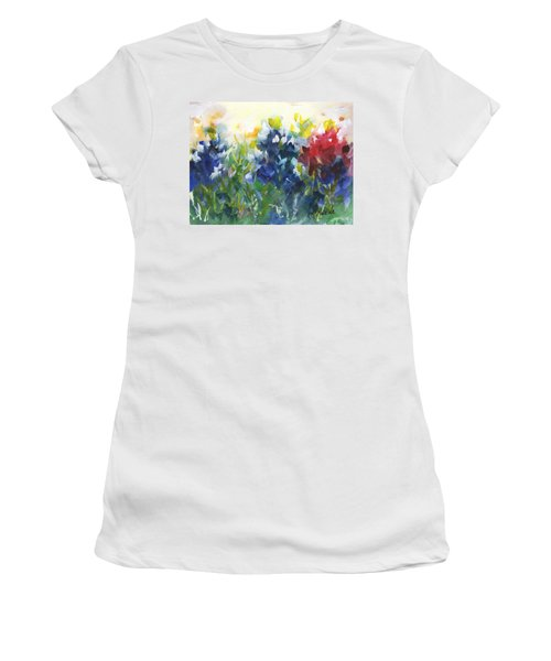 Red White And Bluebonnets Watercolor Painting By Kmcelwaine Women's T-Shirt (Athletic Fit)