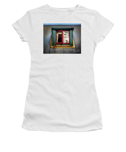 Women's T-Shirt (Junior Cut) featuring the photograph Red Windows by Perry Webster