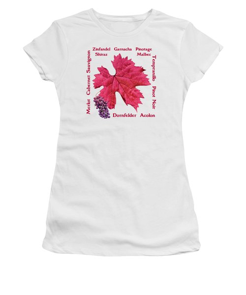 Red Wines Lettering Women's T-Shirt (Athletic Fit)