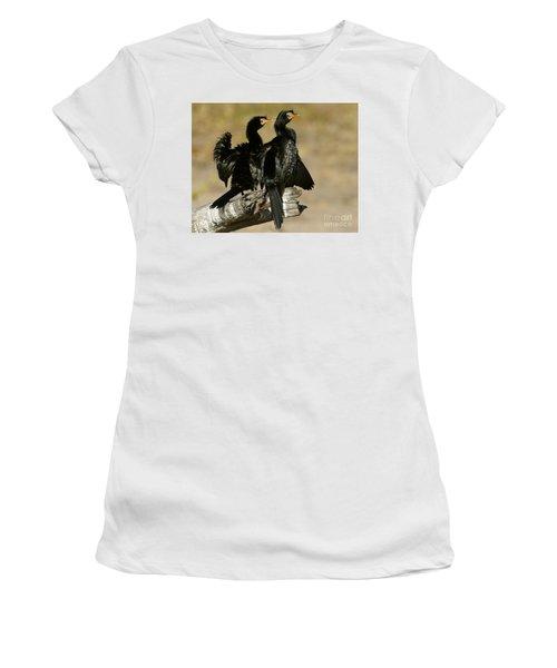 Women's T-Shirt (Junior Cut) featuring the photograph Reed Cormorants by Myrna Bradshaw