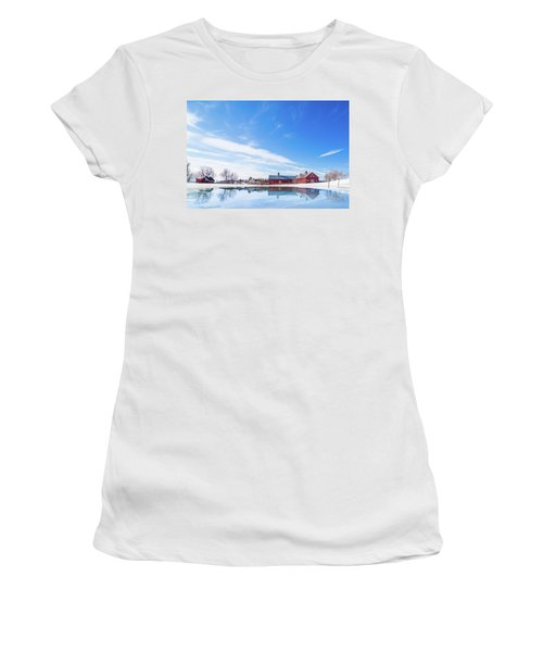 Reflection Of A Barn In Winter Women's T-Shirt (Athletic Fit)