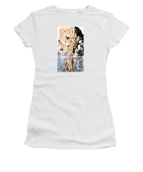Women's T-Shirt (Junior Cut) featuring the drawing Reflection Of A Lioness Drinking From A Watering Hole by Jim Fitzpatrick