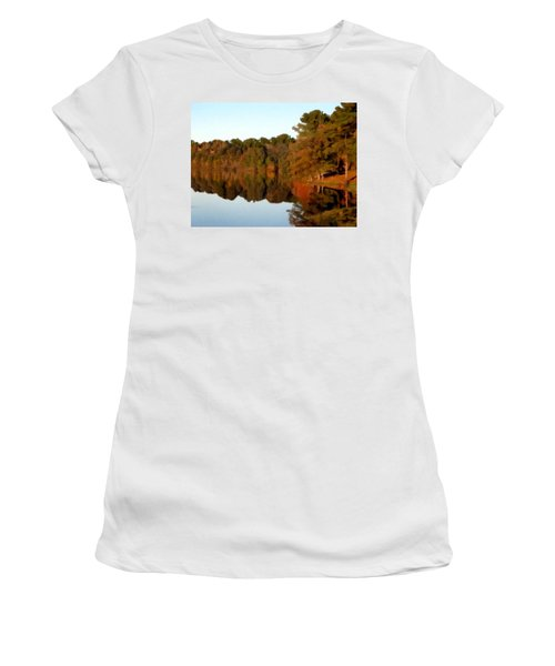 Women's T-Shirt (Junior Cut) featuring the painting Reflections Of A Pennsylvania Autumn by David Dehner