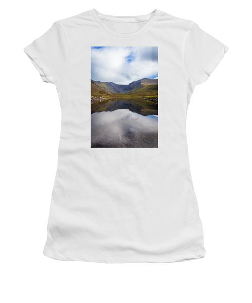 Reflections Of The Macgillycuddy's Reeks In Lough Eagher Women's T-Shirt (Junior Cut) by Semmick Photo