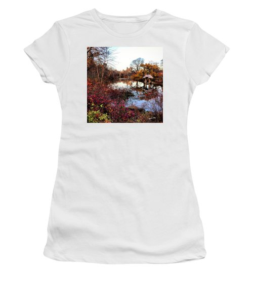 Women's T-Shirt (Junior Cut) featuring the photograph Reflections On A Winter Day - Central Park by Madeline Ellis
