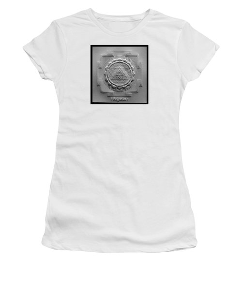 Women's T-Shirt (Junior Cut) featuring the relief Relief Shree Yantra by Suhas Tavkar