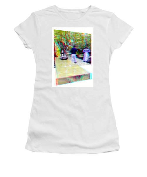Women's T-Shirt (Junior Cut) featuring the photograph Renaissance Slide - Red-cyan 3d Glasses Required by Brian Wallace