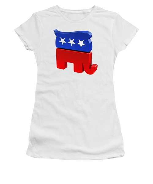 Republican Elephant With Trump Hair Women's T-Shirt (Junior Cut) by Carsten Reisinger