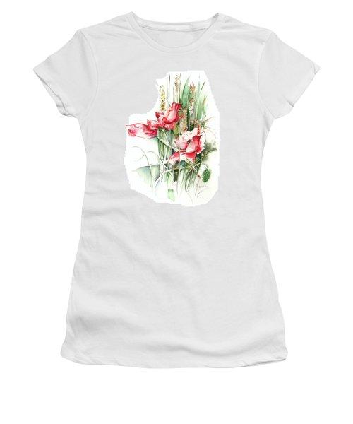 Women's T-Shirt (Junior Cut) featuring the painting Residents Of Green Fields by Anna Ewa Miarczynska