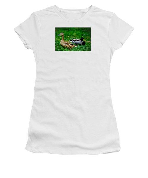 Women's T-Shirt (Junior Cut) featuring the photograph Resting Ducks by Mariola Bitner