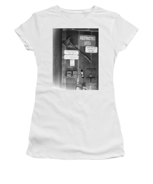 Restricted Area Women's T-Shirt (Junior Cut) by WaLdEmAr BoRrErO