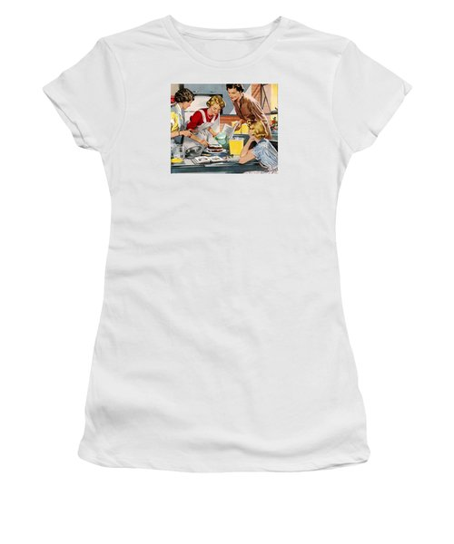 Women's T-Shirt featuring the digital art Retro Home by Reinvintaged
