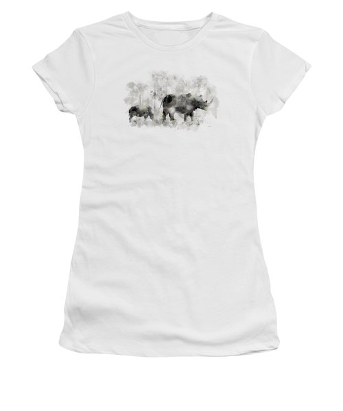 Rhinoceros And Baby Women's T-Shirt (Junior Cut) by Marlene Watson