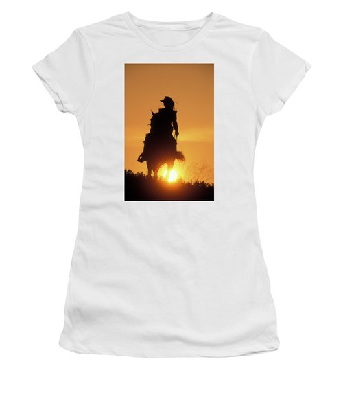 Riding Cowgirl Sunset Women's T-Shirt (Athletic Fit)