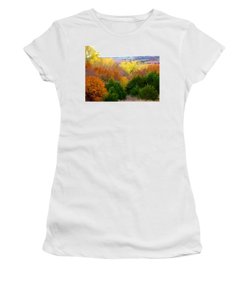 River Bottom In Autumn Women's T-Shirt (Athletic Fit)
