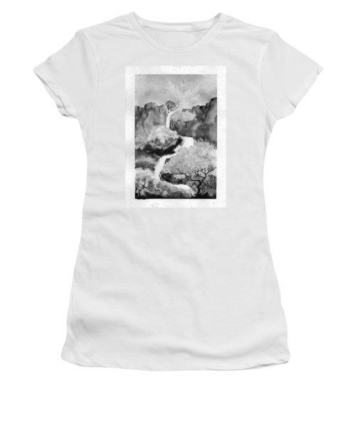 Women's T-Shirt (Junior Cut) featuring the painting Riviere Celeste by Marc Philippe Joly