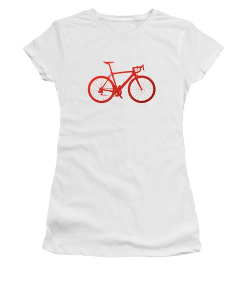Road Bike Silhouette - Red On White Canvas Women's T-Shirt (Junior Cut) by Serge Averbukh