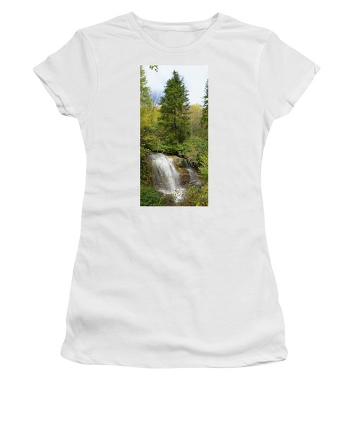 Women's T-Shirt (Junior Cut) featuring the photograph Roadside Waterfall In North Carolina by Mike McGlothlen