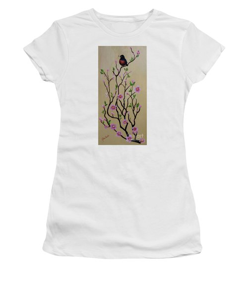 Robin And Spring Blossoms Women's T-Shirt