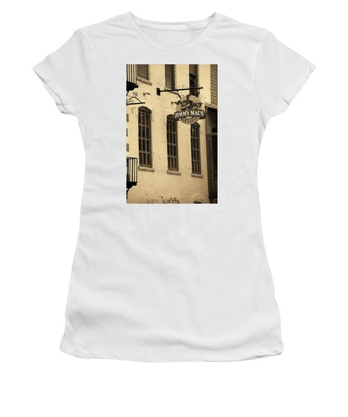 Women's T-Shirt (Junior Cut) featuring the photograph Rochester, New York - Jimmy Mac's Bar 3 Sepia by Frank Romeo