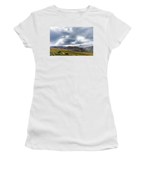 Rock Formation Landscape With Clouds And Sun Rays In Ireland Women's T-Shirt (Junior Cut) by Semmick Photo