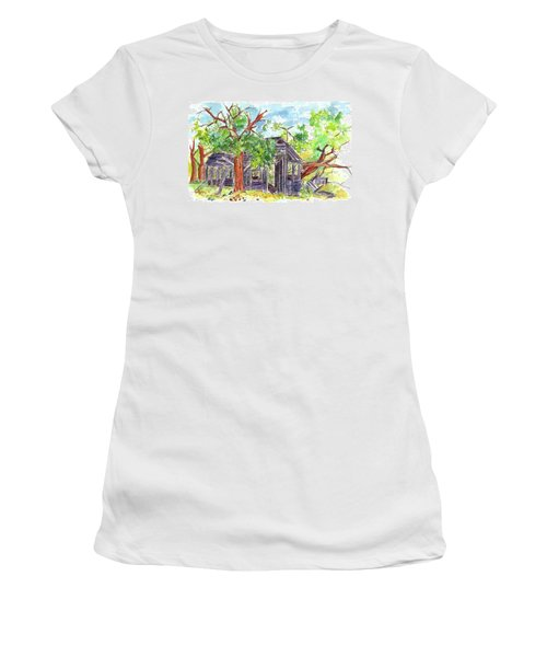 Women's T-Shirt (Junior Cut) featuring the painting Rockland Cabin by Cathie Richardson