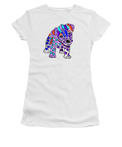 Rocky Dog Puppy Jack Russell Parson Fun Colorful Border Lakeland Kerry Blue Irish Norfolk Terrier   Women's T-Shirt (Athletic Fit)