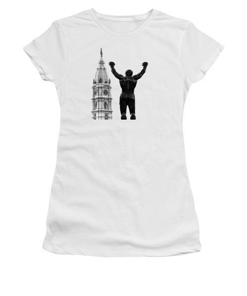 Women's T-Shirt (Junior Cut) featuring the photograph Rocky - Philly's Champ by Bill Cannon