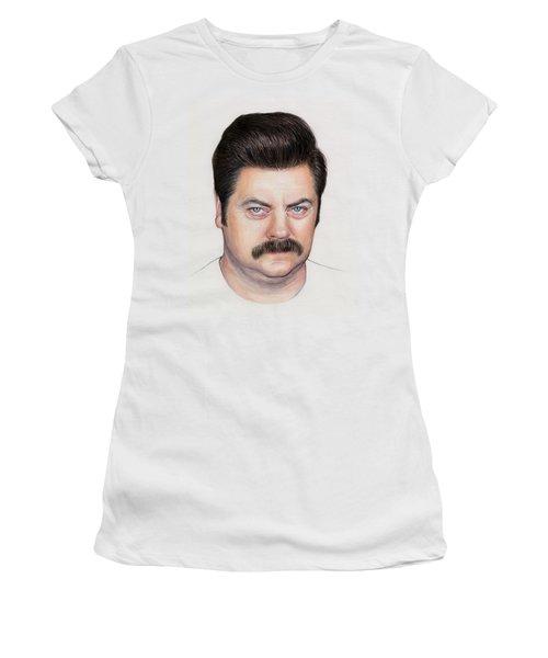 Ron Swanson Portrait Nick Offerman Women's T-Shirt (Junior Cut) by Olga Shvartsur
