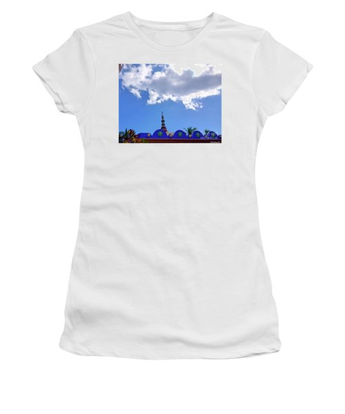 Women's T-Shirt (Athletic Fit) featuring the digital art Rooftop And Sky by Francesca Mackenney