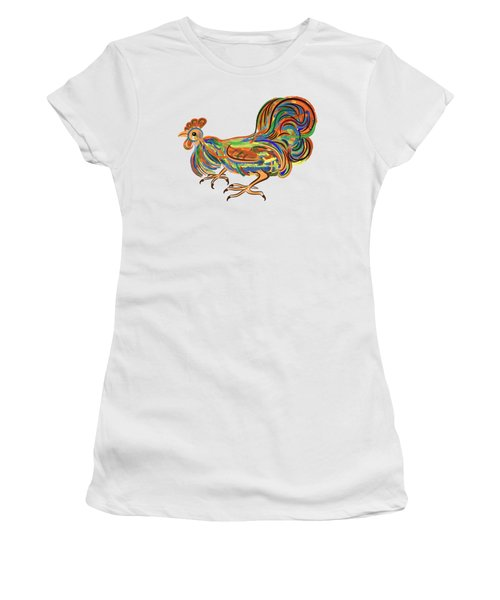 Women's T-Shirt (Junior Cut) featuring the digital art Rooster- Symbol Of Chinese New Year by Michal Boubin
