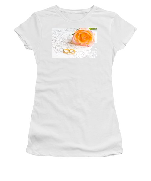Rose And Two Rings Over Handwritten Letter Women's T-Shirt (Athletic Fit)