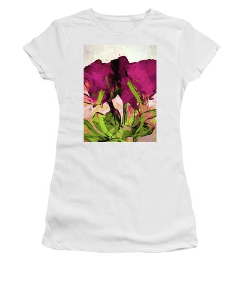 Rose Romantica Magenta Green Women's T-Shirt (Athletic Fit)
