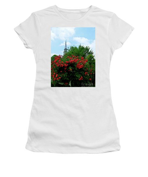 Roses On The Fence In Mauricetown Women's T-Shirt (Junior Cut) by Nancy Patterson