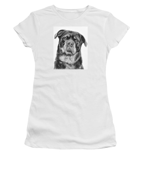Rottweiler Drawing Titled Mama Women's T-Shirt (Junior Cut) by Kate Sumners