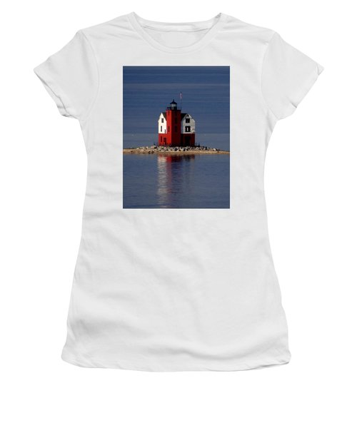 Round Island Lighthouse In The Morning Women's T-Shirt (Junior Cut) by Keith Stokes