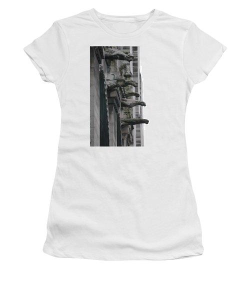 Women's T-Shirt (Junior Cut) featuring the photograph Row Of Gargoyles by Christopher Kirby