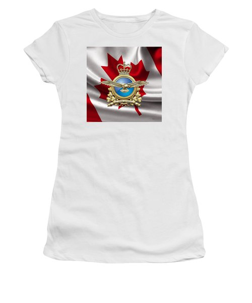 Royal Canadian Air Force Badge Over Waving Flag Women's T-Shirt (Athletic Fit)