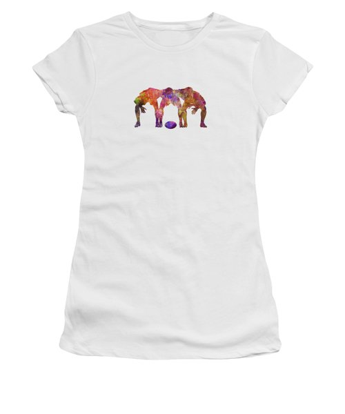 Rugby Men Players 05 In Watercolor Women's T-Shirt