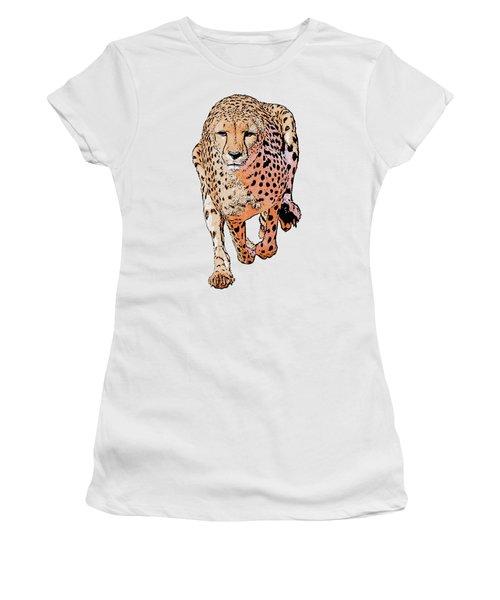 Running Cheetah Cartoonized #1 Women's T-Shirt (Athletic Fit)
