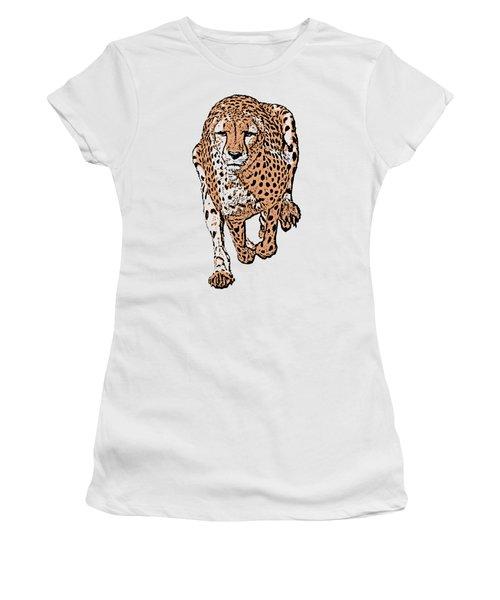Running Cheetah Cartoonized #2 Women's T-Shirt (Athletic Fit)