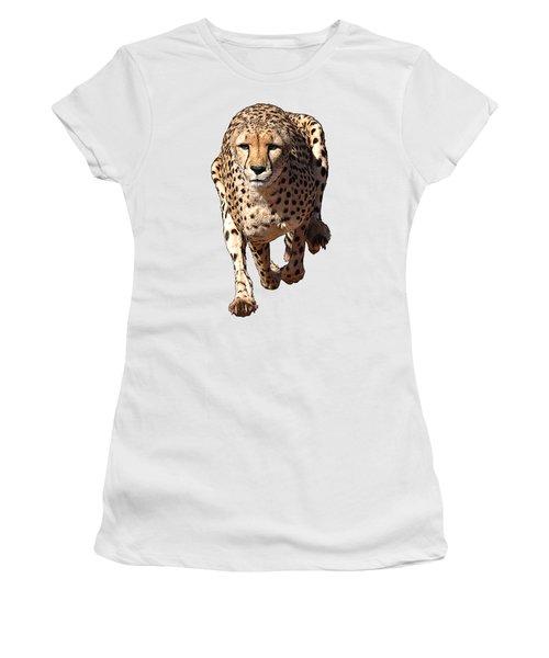 Running Cheetah Cartoonized #3 Women's T-Shirt (Athletic Fit)