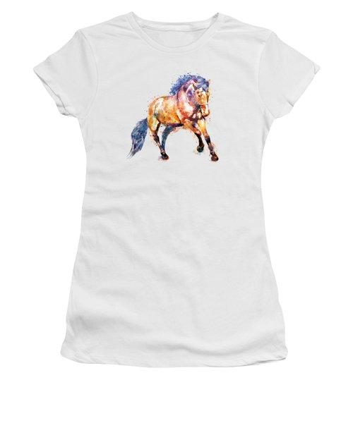 Running Horse Women's T-Shirt (Junior Cut) by Marian Voicu