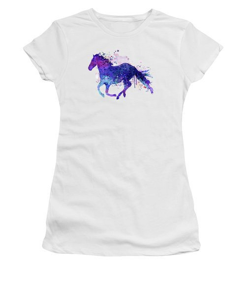 Running Horse Watercolor Silhouette Women's T-Shirt (Athletic Fit)