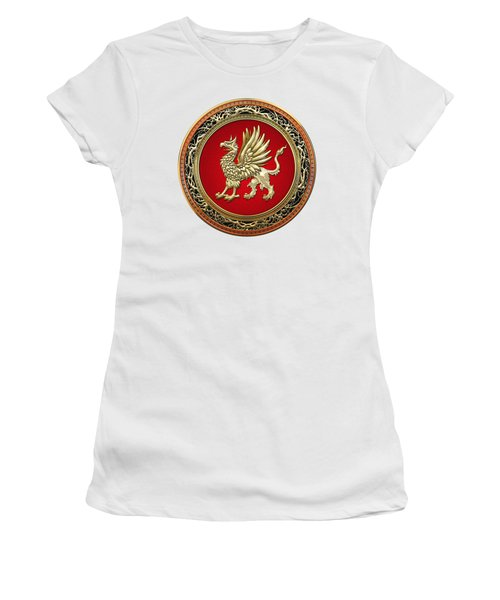 Sacred Gold Griffin On White Leather  Women's T-Shirt