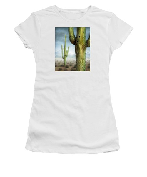 Saguaro Cactus Landscape Women's T-Shirt (Junior Cut) by James Larkin