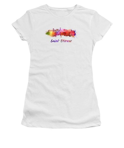 Saint Etienne Skyline In Watercolor Women's T-Shirt