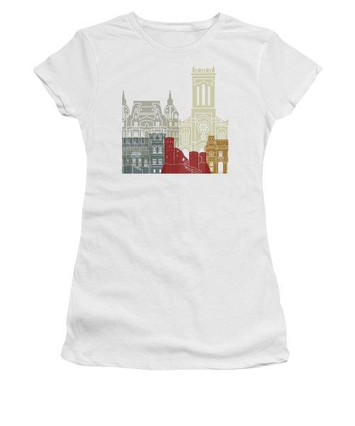 Saint Etienne Skyline Poster Women's T-Shirt (Junior Cut) by Pablo Romero