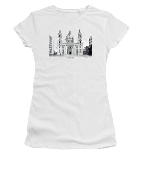 Women's T-Shirt (Junior Cut) featuring the drawing Saint Stephens Basilica by Frederic Kohli
